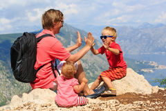 Family having fun on vacation in mountains Stock Image