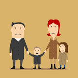 Family having fun on a walk in an autumn day Royalty Free Stock Photography