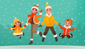 Family are having fun in winter holidays. Mom, dad, son and daughter are jumping on the background of the forest. Vector illustration in cartoon style stock illustration