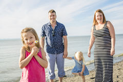 Family having great time ocean Royalty Free Stock Images