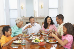 family having home meal together
