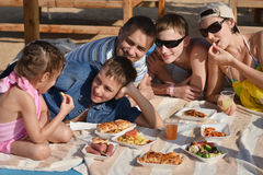 Family having lunch Stock Images