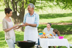 Family having lunch in the lawn Royalty Free Stock Image