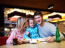 Family having lunch in shopping mall Royalty Free Stock Images