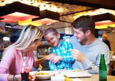 Family having lunch in shopping mall Royalty Free Stock Photography