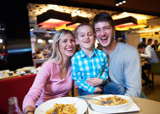 Family having lunch in shopping mall Stock Images