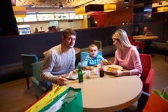 Family having lunch in shopping mall Stock Photography