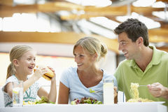 Family Having Lunch Together At The Mall. Family Enjoying Lunch Together At Cafe Royalty Free Stock Photos