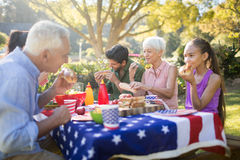 Family having meal in the park. On a sunny day Stock Photos