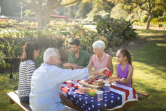 Family having meal in the park. On a sunny day Royalty Free Stock Image