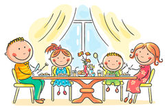 Family having meal together. Cartoon family having meal together Royalty Free Stock Images