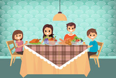 Family having meal together, cartoon style.vector. Illustration Stock Image