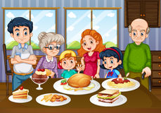 Family having meal together in dining room. Illustration royalty free illustration