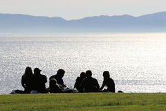 Family having a picnic. stock photography