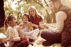 Family having picnic on autumn day. Close up stock photos