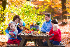 Family having picnic in autumn. Happy young family with four children grilling meat and making sandwich and salad on a picnic table in sunny autumn park Stock Photos