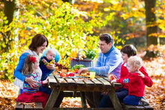 Family having picnic in autumn. Happy young family with four children grilling meat and making sandwich and salad on a picnic table in sunny autumn park stock photography