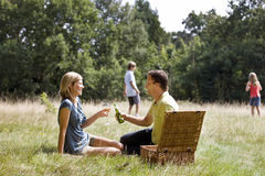 A family having a picnic, children playing in the background Royalty Free Stock Images