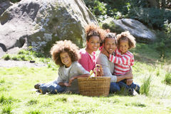 Family Having Picnic In Countryside Royalty Free Stock Photography