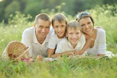 Family  is having picnic Royalty Free Stock Photos
