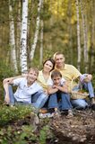 Family having picnic. Happy Family having picnic at summer forest Stock Photography