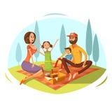 Family Having Picnic Illustration Stock Photo