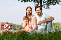 Family having picnic at lake sitting on meadow Royalty Free Stock Photos