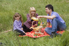 Family having picnic in park. Parents and child on picnic in the forest. Mother, father and daughter relaxing. Wife is giving husband sandwich Stock Photos