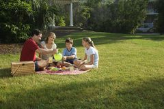 Family having picnic in park. Caucasian family of four having picnic in park Royalty Free Stock Image