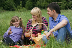Family having picnic in park. Parents and child on picnic in the forest. Mother, father and daughter relaxing. Girl is holding strawberry Royalty Free Stock Photography