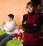 Family having quarrel. Family of three having quarrel at home Royalty Free Stock Photos