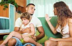 Family  having quarrel. Family of three having quarrel Royalty Free Stock Photography