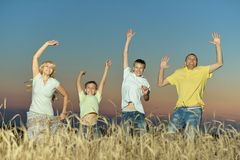 Family having rest in field Royalty Free Stock Image