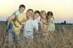 Family having rest in field Royalty Free Stock Photos