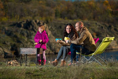 Family having rest outdoor Stock Images