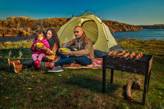 Family having rest outdoor Stock Photography