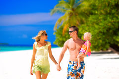 Family having tropical vacation Royalty Free Stock Photography