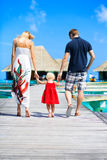 Family having tropical vacation Stock Images