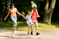 Family having a walk royalty free stock images