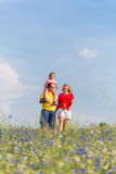 Family having walk on meadow with flowers Royalty Free Stock Photo