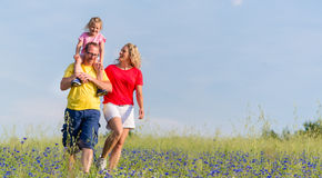 Family having walk on meadow with flowers Stock Photo