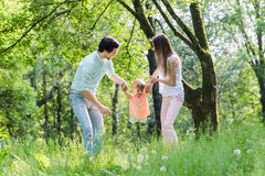 Family having walk together in summer Stock Photos