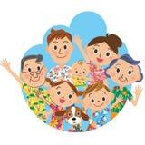 Family in a Hawaiian shirt Royalty Free Stock Image