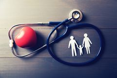 Family health care and insurance concept. Top view stock photos