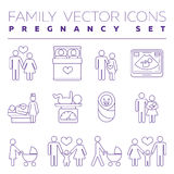 Family health care and pregnancy medicine thin line vector icons. Family with pregnant woman, illustration of creation of young family Royalty Free Stock Photos