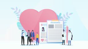 Family health insurance flat vector concept stock illustration