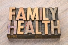 Family health word abstract in wood type Royalty Free Stock Image
