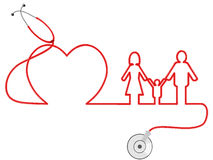 Family Healthcare. The symbol of family Healthcare by stethoscope Royalty Free Stock Photos