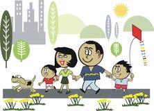 Family healthy exercise cartoon stock illustration