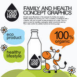 Family Healthy Infographic With Character Cow Stock Photo